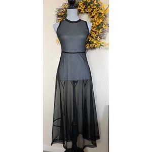 Morgane Le Fay Sheer Black Maxi Dress